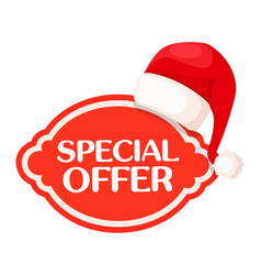 special offer red label under santa claus hat vector image