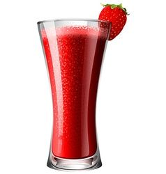 Strawberry smoothie mocktail in glass vector