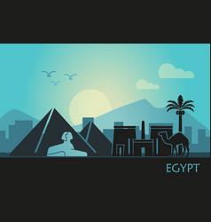Stylized landscape egypt at sunset vector