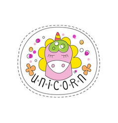 sweet unicorn with closed eyes childish patch vector image