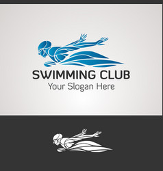 Swimming club logo ocean sea color swimmer vector