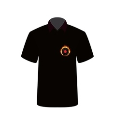 T-shirt with the image of fire and vinyl vector image
