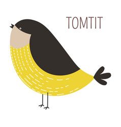Tomtit wild bird childish cartoon book character vector