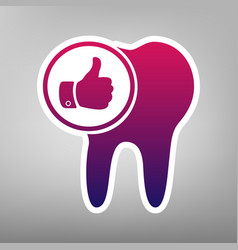 Tooth sign with thumbs up symbol purple vector