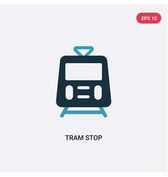 two color tram stop icon from transport concept vector image