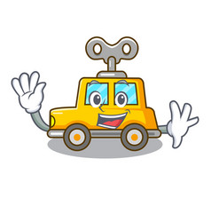 Waving cartoon clockwork toy car in table vector