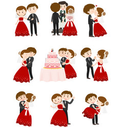 wedding couple in different actions vector image
