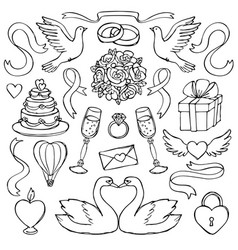 wedding hand drawn set vector image