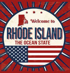 welcome to rhode island vintage grunge poster vector image