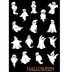 White halloween ghosts and ghouls vector image