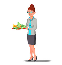 woman holding tray with pile of money on it vector image