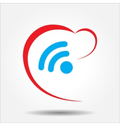 Beautiful Love Wireless Heart web icon vector image