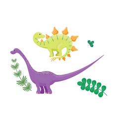 Cartoon dinosaurs diplodocus vector