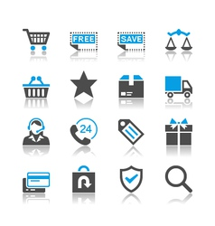 E-commerce icons reflection vector image vector image