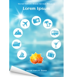 Flyer design with sea shell and travel icons vector image vector image