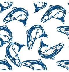 Salmon fish seamless pattern vector image