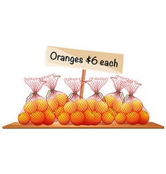 Six bags of fresh oranges vector image vector image