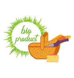 basket with wine bread and cheese flat vector image vector image