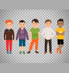 cute little boys on transparent background vector image vector image