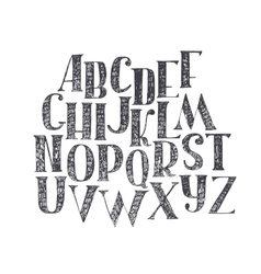 English hand drawn abc from a to z Capital font vector image vector image
