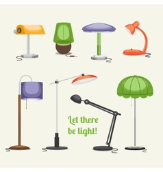 Furniture Floor lamp and table lamps vector image vector image