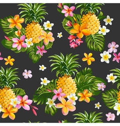 Pineapples and Tropical Flowers Background vector image vector image