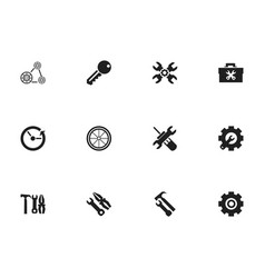 Set of 12 editable mechanic icons includes vector