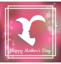 Silhouette of mother and her child with text for vector image vector image