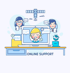 support and online consultant manager on the vector image