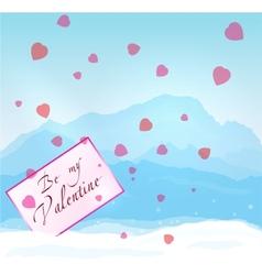 W inter mountains valentine vector