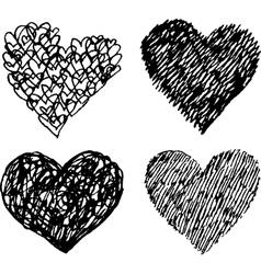 Black sketched hearts set vector image vector image