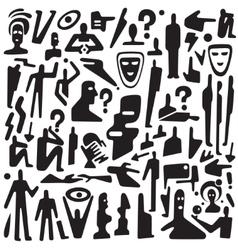 Communication thinking - icons set vector image vector image