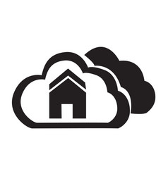 flat black cloud home button icon vector image