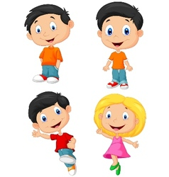 Happy children cartoon vector image vector image