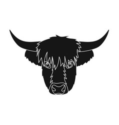 highland cattle head icon in black style isolated vector image
