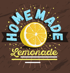 homemade lemonade design with sliced lemon vector image vector image