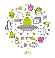 UFO and Space Thin Line Icons Set with Aliens vector image
