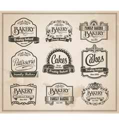 Vintage Retro Bakery Label Set vector image vector image