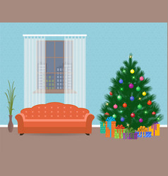 christmas design living room interior with vector image