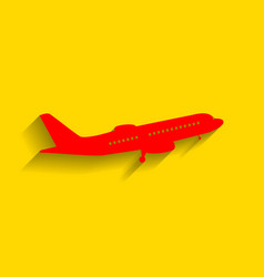flying plane sign side view red icon vector image vector image