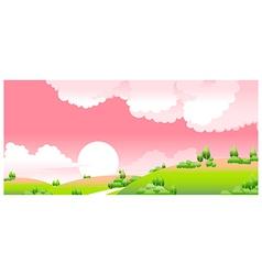 idyllic sunset landscape vector image vector image