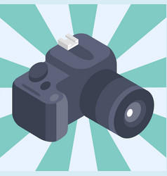 photo camera isometric reflection movie vector image