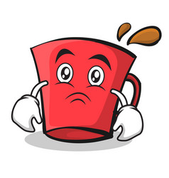 sad face red glass character cartoon vector image