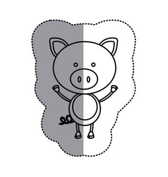 silhouette teddy pig icon vector image vector image