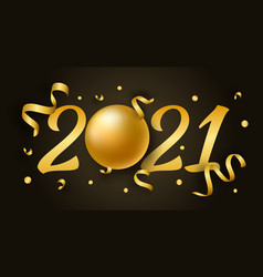2021 happy new year with 3d realistic numbers and vector image