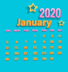 3d happy new year 2020 vector image