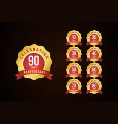 90 years anniversary set celebrations gold yellow vector
