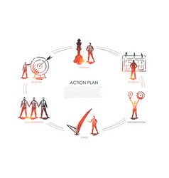 action plan - strategy collabororation check vector image
