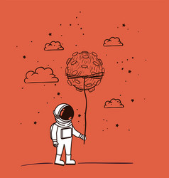 Astronaut draw with asteroid design vector