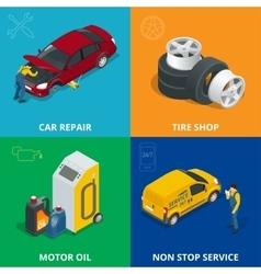 Auto mechanic design concept set with car repair vector image